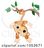 Royalty Free Vector Clip Art Illustration Of A Cute Monkey Hanging From A Branch by Pushkin #COLLC1053671-0093