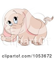 Royalty Free Vector Clip Art Illustration Of A Cute Baby Elephant by Pushkin