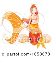 Royalty Free Vector Clip Art Illustration Of A Mermaid On An Orange Crowned Fish by Pushkin