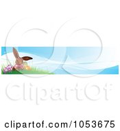 Royalty Free Vector Clip Art Illustration Of An Easter Egg And Chocolate Bunny On A Hill Website Banner by Pushkin
