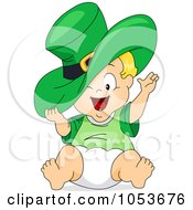 Royalty Free Vector Clip Art Illustration Of A Cute Leprechaun Toddler With A Big Hat