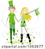 Royalty Free Vector Clip Art Illustration Of A St Patricks Day Stick Boy And Girl Holding Hands