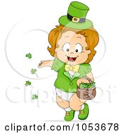 Royalty Free Vector Clip Art Illustration Of A Cute Leprechaun Toddler Girl Tossing Shamrocks by BNP Design Studio