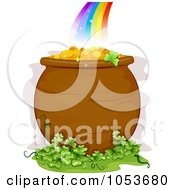 Royalty Free Vector Clip Art Illustration Of A Pot Of Gold And Clover Patch At The End Of A Rainbow by BNP Design Studio