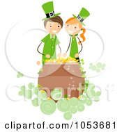 Royalty Free Vector Clip Art Illustration Of A St Patricks Day Stick Girl And Boy Over A Pot Of Gold