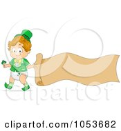 Royalty Free Vector Clip Art Illustration Of A Cute Toddler Boy With A Blank Banner