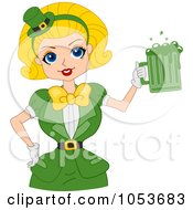 Royalty Free Vector Clip Art Illustration Of A Sexy St Patricks Day Pinup Woman Serving Green Beer