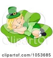 Royalty Free Vector Clip Art Illustration Of A Cute Leprechaun Toddler Sleeping On A Shamrock