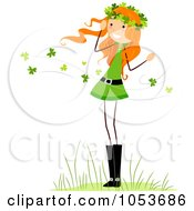 Royalty Free Vector Clip Art Illustration Of A St Patricks Day Stick Girl In A Clover Breeze by BNP Design Studio