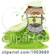 Royalty Free Vector Clip Art Illustration Of A Clover Patch Beside An Old Well by BNP Design Studio