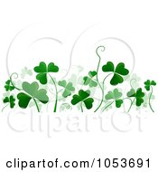 Royalty Free Vector Clip Art Illustration Of A Border Of Clovers And Tendrils