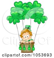 Royalty Free Vector Clip Art Illustration Of A Cute Leprechaun Toddler In A Hot Air Balloon