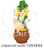 Royalty Free Vector Clip Art Illustration Of A Sexy St Patricks Day Pinup Woman Sitting On A Pot Of Gold by BNP Design Studio
