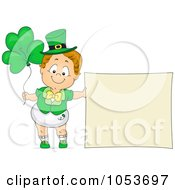 Royalty Free Vector Clip Art Illustration Of A Cute Toddler Boy With A Blank Sign And Clover Balloons