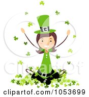 Royalty Free Vector Clip Art Illustration Of A St Patricks Day Stick Girl Sitting In Clovers