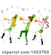 Royalty Free Vector Clip Art Illustration Of A St Patricks Day Stick People Playing Trumpets