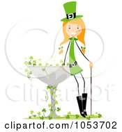 St Patricks Day Stick Girl Leaning Against A Bird Bath