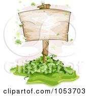 Royalty Free Vector Clip Art Illustration Of A Blank Sign Board In A Clover Patch