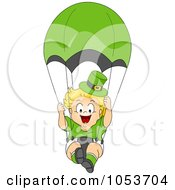 Royalty Free Vector Clip Art Illustration Of A Cute Leprechaun Toddler Parachuting