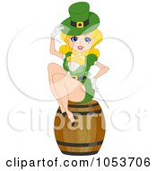 Royalty Free Vector Clip Art Illustration Of A Sexy St Patricks Day Pinup Woman Sitting On A Barrel