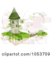 Royalty Free Vector Clip Art Illustration Of A Foot Bridge Connecting A Floating Island To A St Patricks Tower
