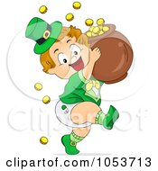 Royalty Free Vector Clip Art Illustration Of A Cute Leprechaun Toddler Carrying A Pot Of Gold