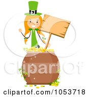 Royalty Free Vector Clip Art Illustration Of A St Patricks Day Stick Girl Holding A Sign Behind A Pot Of Gold
