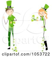 Royalty Free Vector Clip Art Illustration Of A St Patricks Day Stick Boy And Girl With A Blank Sign