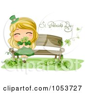 Royalty Free Vector Clip Art Illustration Of A Cute St Patricks Day Girl Smelling Shamrocks On A Bench