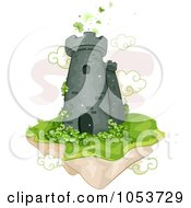 Royalty Free Vector Clip Art Illustration Of A Floating Castle Tower With Shamrocks