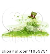 Royalty Free Vector Clip Art Illustration Of A Leprechaun Hat On A Post Over A Shamrock Garden by BNP Design Studio