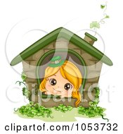 Royalty Free Vector Clip Art Illustration Of A Cute St Patricks Day Girl In A House by BNP Design Studio