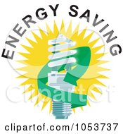 Royalty Free Vector Clip Art Illustration Of A Spiral Fluorescent Lightbulb With Energy Saving Text 1