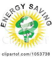 Royalty Free Vector Clip Art Illustration Of A Lightbulb With Energy Saving Text 2