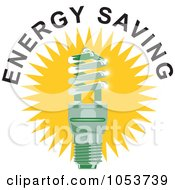 Royalty Free Vector Clip Art Illustration Of A Spiral Fluorescent Lightbulb With Energy Saving Text 2
