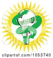 Royalty Free Vector Clip Art Illustration Of A Light Bulb With A Green Arrow Against The Sun by patrimonio