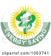 Royalty Free Vector Clip Art Illustration Of A Lightbulb With Energy Saving Text 1