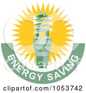Royalty Free Vector Clip Art Illustration Of A Spiral Fluorescent Lightbulb With Energy Saving Text 3