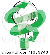 Royalty Free Vector Clip Art Illustration Of A Light Bulb With A Green Arrow by patrimonio