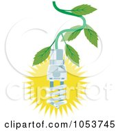 Royalty Free Vector Clip Art Illustration Of A Spiral Fluorescent Lightbulb Hanging From A Tree by patrimonio