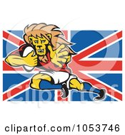 Royalty Free Vector Clip Art Illustration Of A Rugby Lion Over A British Flag