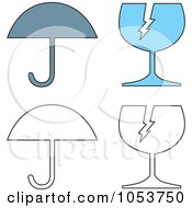 Royalty Free Vector Clip Art Illustration Of A Digital Collage Of Umbrellas And Fragile Glass