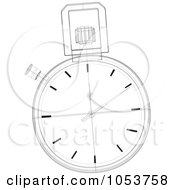 Royalty Free Vector Clip Art Illustration Of A Stopwatch Sketch 1