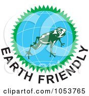 Royalty Free Vector Clip Art Illustration Of A Frog Over A Globe Above Earth Friendly Text 1 by patrimonio