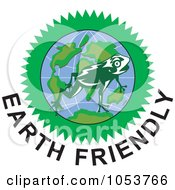 Royalty Free Vector Clip Art Illustration Of A Frog Over A Globe Above Earth Friendly Text 2 by patrimonio