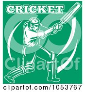 Royalty Free Vector Clip Art Illustration Of A White Cricket Batsman On Green