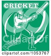 White Cricket Batsman On Green