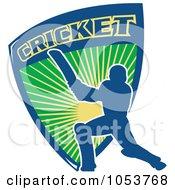 Blue Cricket Batsman With A Shield