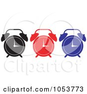 Royalty Free Vector Clip Art Illustration Of A Digital Collage Of Black Red And Blue Alarm Clocks by patrimonio