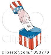Royalty Free Vector Clip Art Illustration Of An American Hand Inserting A Vote Into A Ballot Box